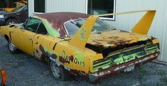There needs to be an automotive rescue team that goes in and saves old cars before they turn into this. Junkyard Cars, Plymouth Superbird, Dodge Charger Daytona, Cool Old Cars, Rust In Peace, Automobile, Rusty Cars, Mopar Or No Car, Abandoned Cars