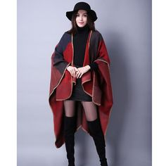 [AETRENDS] 2016 New Brand Women's Winter Poncho Vintage Blanket Women's Lady Knit Shawl Cape Cashmere Scarf Poncho Z-2241