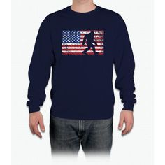 American Flag Bigfoot T-Shirt, Funny 4th of July Sasquatch Long Sleeve T-Shirt