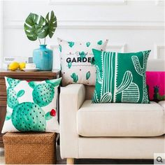 Cheap pillow color, Buy Quality plant pillow directly from China sofa pillow Suppliers: Tropical Cactus Decor Cushions Green plant pattern Throw Pillow colorful decorative Seat Couch Chair Pillows for Sofa Pillows