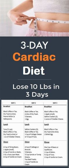 3-Day Cardiac Diet: Lose 10 Pounds in 3 Days #dietworkout #EggDietPancakes #RawEggDiet Easy Diet Plan, Healthy Diet Plans, Healthy Foods, Healthy Eating, Healthy Weight, Healthy Recipes, 3 Day Cardiac Diet, Egg And Grapefruit Diet, Heart Diet