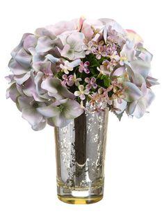 "Hydrangea/Rose 10"" in Glass Vase Blue Mauve"