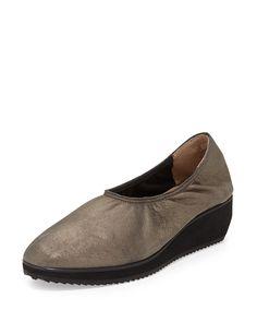 Mellow Metallic Suede Slip-On Sneaker, Mica - Eileen Fisher