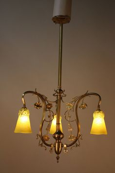 French Electrified Gas Art Nouveau Chandelier | From a unique collection of antique and modern chandeliers and pendants at https://www.1stdibs.com/furniture/lighting/chandeliers-pendant-lights/
