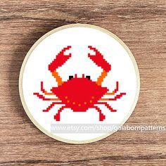 Counted cross stitch pattern PDF - Crab - Nautical - Sea life