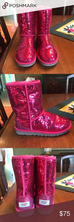Red sequin UGGs NWOT warn maybe once! Perfect condition!! Such a fun pair of shoes! LIMITED EDITION!! The dots on the bottom are sparkles! Still sooo fluffy on the inside! ❤️🖤 UGG Shoes Winter & Rain Boots