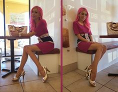 The Haute Blonde- Fashion & Beauty Blog: Pink Dress & Louis Vuitton Accessories