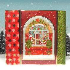 Contemporary Christmas by Hunkydory Crafts. Card made using 'The Toy Shop' topper set. Part of the 2014 Christmas Craftinator