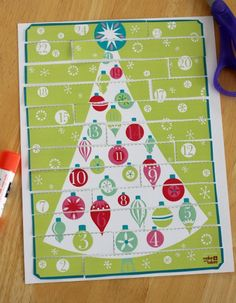 Free printable puzzle advent calendar--glue on a numbered piece each day of advent (you could write activities on the back of each piece)