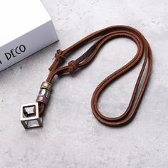 Punk Leather Rope Chain Adjustable Long Personalized Necklace for Men is cool and personalized - NewChic