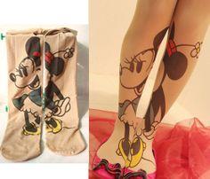 Women Sexy Disney Minnie Tattoo Pantyhose Stockings Tights Legging Thick warm #Disney
