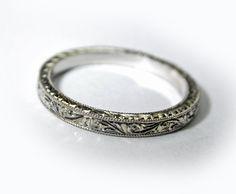 Hand Engraved Art Deco Style Thin by konstantinkapirin - platinum - $600