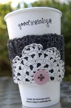 Knitted coffee sleeve- with crochet doily accent