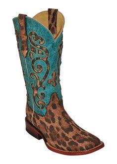 Ferrini Ladies Tan Turquoise Leopard Print S-Toe Cowboy Boots