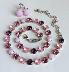 "Swarovski Crystal Necklace  -  "" Summer Sunset"" -  Pink Alabaster, Glowing Matte Pink, Rose & Amethyst"