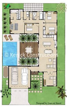 Oasis Replace the pool with a greenhouse and I'm sold. Sims House Plans, House Layout Plans, New House Plans, Dream House Plans, Modern House Plans, Small House Plans, Modern House Design, House Floor Plans, Layouts Casa