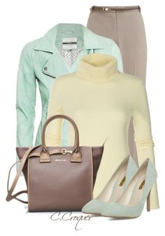 """Mint Leather Jacket"" by ccroquer ❤ liked on Polyvore featuring Eastex, See by Chloé and Dorothy Perkins"