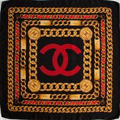 Vintage genuine CHANEL silk scarf - Red - Gold - Black  - Luxury scarf - Vintage designer - gift for her by Fushika on Etsy