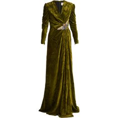 Gucci V-neck embellished velvet gown (€5.770) ❤ liked on Polyvore featuring dresses, gowns, gucci evening gowns, gucci gown, gucci, gucci dress and gucci evening dresses