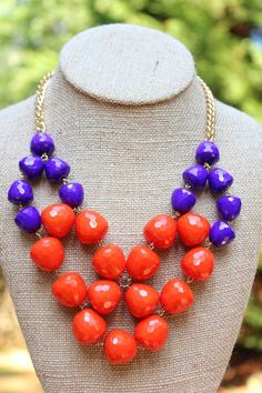 Peach Roots - GameDay Necklace- Purple and Orange, $20.00 (http://peachroots.com/gameday-necklace-purple-and-orange/)