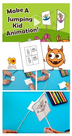 Jumping Kid Animation - 10 Minutes of Quality Time Projects For Kids, Diy For Kids, Animation Classes, Communication Activities, Easy Arts And Crafts, Printable Activities For Kids, How To Make Animations, Spring Activities, Camping Crafts