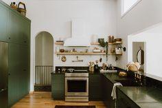dark green cabinets + soapstone counters