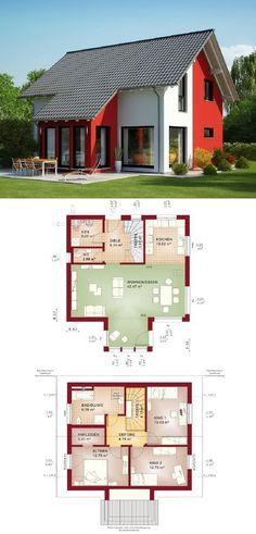 Einfamilienhaus Architektur klassisch mit Satteldach und Erker Anbau - Grundriss Haus Evolution 125 V3 Bien Zenker Fertighaus - HausbauDirekt.de