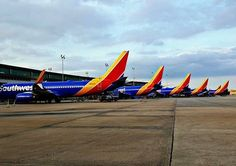 Full house of Southwest Airlines bold Heart liveries. These Boeing airplanes are ready for a full day of travel from Houston Hobby Airport. #AVGeek