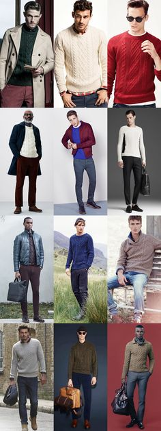 Men's Aran and Cable Knit Jumpers - Outfit Inspiration Lookbook