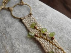 First green - Hand Woven Linen Necklace - mini weaving with Peridot gems - textile jewelry - fiber art necklace
