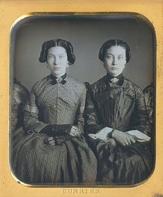 Daguerreotype of the Misses Agnes Pillsbury and Adrianna Pillsbury, by John Q. Currier of  Lawrence, MA, ca. 1851-1854.