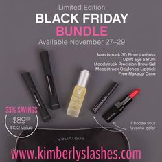 The Black Friday Bundle includes: 1 Moodstruck 3D Fiber Lashes+ 1 Moodstruck Precision Brow Gel, in the color of your choice 1 Uplift Eye Serum 1 Moodstruck Opulence Lipstick, in the color of your choice 1 Makeup bag As you can see, our Black Friday Bundle comes with the essentials and an extra little, colorful treat for quite a steal—and it's only available while supplies last. Beginning Friday, November 27, 2015, at 12:01 a.m. PT through 11:59 p.m. PT Sunday, November 29, 2015!