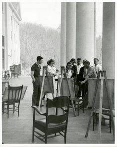 Josef Albers painting class on the porch of Lee Hall