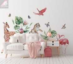 Wall decals with animals for a childs room  Originally watercolor, digitally processed so that it looks nice and looks like a hand-painted wall.  Dimensions of the sticker:   giraffe 67 x 115 cm  tigger 47 x 38 cm  flamingos 45 x 72 cm  parrot 36 x 49 cm  leaves from 5 x 29 cm to 30 x 62 cm  Wall Wall Stickers Giraffe, Baby Room Decals, Nursery Stickers, Nursery Wall Murals, Animal Wall Decals, Nursery Wallpaper, Kids Wall Decals, Safari Nursery, Jungle Safari