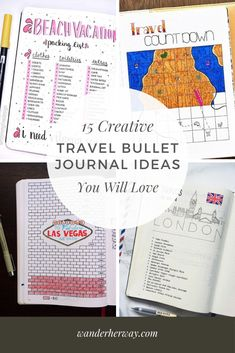 15 Creative Travel Bullet Journal Ideas - Wander Her Way Bullet Journal Vacation, Bullet Journal Layout, Bullet Journal Inspiration, Vacation Countdown, Travel Journal Scrapbook, Packing Checklist, Travel Themes, Kugel, Trip Planning