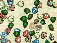 Great polymer clay leaf buttons made using the cane method