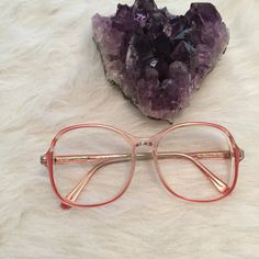 Large pink 80s glasses by Aceofpentaclesthrift on Etsy