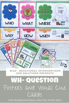 The ability to ask and answer questions is an essential skill when it comes to communication. Adults ask children over 100 questions a day, and for some, the inability to understand these questions can be extremely frustrating. When teaching WH- questions, it is essential to focus on the type of question, not just the vocabulary needed to respond.  These posters and visual cue cards provide children with an explanation of the type of question, as well as different examples of how to answer.