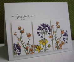 lovely handmade card ... three panel technique: make your image; cut into three equal panels; and pop them up slightly apart on the card ... luv thie over-all card layout and flowers on this one ...
