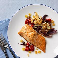 Roasted Salmon, Tomatoes and Cauliflower Recipe