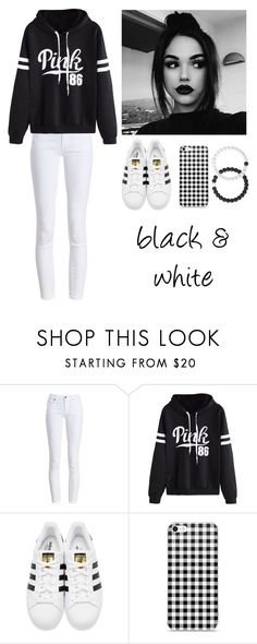 """""""Black & White"""" by kylie2983 ❤ liked on Polyvore featuring Barbour, WithChic, adidas Originals, Lokai, white, black and maddie"""