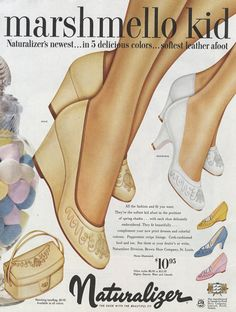 1954 Naturalizer Shoe Ad Marshmallow Platform High by AdVintageCom