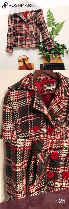 Charlotte Russe jacket Red, black and white tweed jacket with red lining, pockets at the side and double red buttons.  14in across shoulder and 22in long. Charlotte Russe Jackets & Coats
