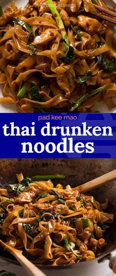 Thai Drunken Noodles (Pad Kee Mao) Spicy Thai Noodles, a popular Thai take-out dish from the streets of Thailand! Make sure you have all ingredients ready to toss into the wok as once you start cooking, things happen quickly! Seafood Recipes, Vegetarian Recipes, Chicken Recipes, Dinner Recipes, Cooking Recipes, Healthy Recipes, Easy Thai Recipes, Spicy Recipes, Spicy Chicken Pad Thai Recipe