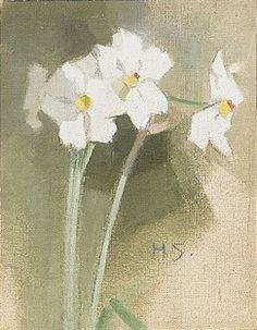 The Athenaeum - Daffodils (Helene Schjerfbeck - ) Helene Schjerfbeck, Plant Illustration, Botanical Flowers, Contemporary Paintings, Art Techniques, Daffodils, Female Art, Watercolor Art, Modern Art