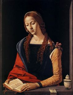 """""""St Mary Magdalene Piero Di Cosimo (Italian High Renaissance, Oil on panel. Galleria Nazionale d'Arte Antica, Rome. A repentant Mary reads from a book. Renaissance Kunst, Renaissance Portraits, Renaissance Paintings, Italian Renaissance, Renaissance Jewelry, Renaissance Artists, Reading Art, Woman Reading, Maria Magdalena"""