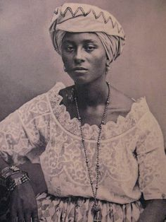 """African slave in Brazil""  also labeled as ""Girl from Salvador 1869"" on  http://wiki.healthhaven.com/Brazilians  via FlyGirls"