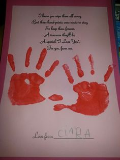 Infants tp Valentines Day poem and handprint Preschool Crafts, Crafts For Kids, Arts And Crafts, Valentines Day Poems, Church Nursery, Parent Gifts, Art Activities, Early Childhood