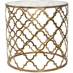 Round Moroccan Side Table Gold ($438) ❤ liked on Polyvore featuring home, furniture, tables and accent tables