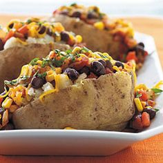 Black bean and corn baked potato
